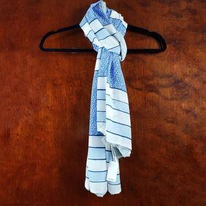 LOFT Grey Blue Stripe Floral Scarf OS
